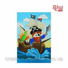 Полотно на картоні з контуром, Мультфільм №31, «Пірат на кораблі», 20*30, бавовна, акрил, ROSA Talen