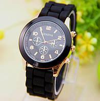 Женские часы силиконовые Geneva Luxury Black черные