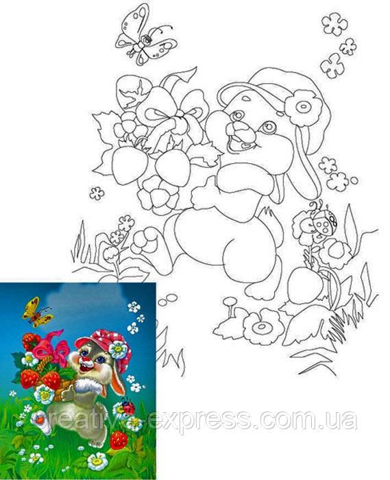 Полотно на картоні з контуром, Мультфільм № 9, 25*35, бавовна, акрил, ROSA Talent