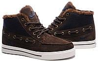 Мужские зимние кроссовки Nike Top Fur (Найк) с мехом коричневые