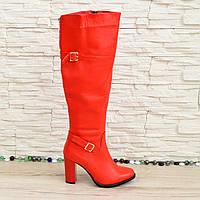 Сапоги красные женские зимние на высоком каблуке. 37 размер