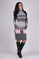 Вязаное зимнее стильное платье Мулине розовое