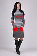 Вязаное зимнее стильное платье Мулине красное