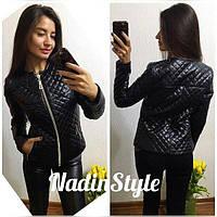 Куртка женская стильная на синтепоне стеганая экокожа 2 цвета Gd139
