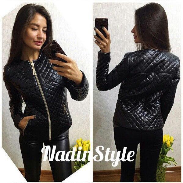 580e6284555 Куртка женская стильная на синтепоне стеганая экокожа 2 цвета Gd139 -  Shoppingood в Харькове