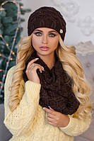 Зимний женский комплект «Леруа» (шапка и снуд) Коричневый