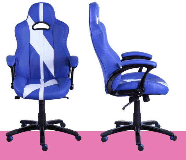 Кресло Форсаж №5 (1675) к/з PU синий/белые вставки. Запоминающийся дизайн. Такое кресло выбирают уверенные в себе и своем успехе люди. Кресло гармонично впишется в интерьер, выполненный в стиле модерн или хай-тек.