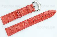 Ремешок Slava (Слава) 24 мм для наручных часов, натуральная кожа, коралловый, строчка