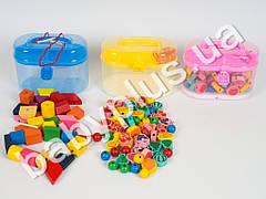 Деревянная игрушка Шнуровка, фигурки с картинками, 3 цвета, в чемодане MD0686