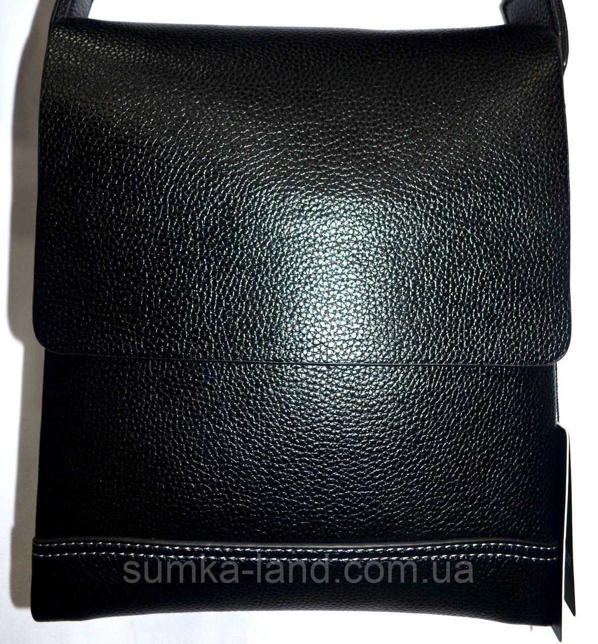 Мужская черная кожаная сумка барсетка на плечо 22*25