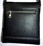 Мужская черная кожаная сумка барсетка на плечо 22*25, фото 2