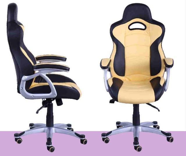 Кресло Форсаж №1 (1712) к/з PU черный/желтые вставки. Кресло Форсаж-1 выделяется теплым цветов крем-брюле. Эргономичное сиденье соспинкой, механизм фиксации наклона кресла в любом положении, обеспечиваютмаксимальный комфорт. Стильные подлокотники с мягкой накладкой делают дизайн завершенным.