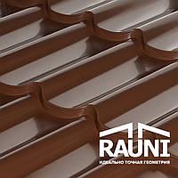 Металлочерепица Рауни матовая 0,45 производитель, RAUNI профиль PREMIUM (металл матовый 8017 Корея)