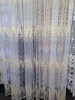Тюль шитье золотой нитью Идилия