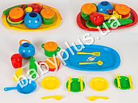 Поднос с набором посуды (18 предметов), в сетке 990-V-2
