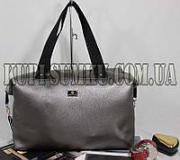 Стильная спортивная сумка из кожзама (цвет темное серебро)