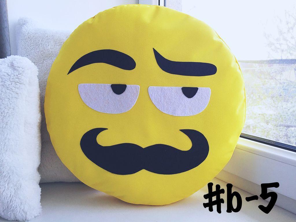 Большая подушка-смайлик Emoji #b-5 Усатый нянь Smile