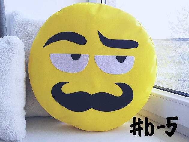 Большая подушка-смайлик Emoji #b-5 Усатый нянь Smile, фото 2