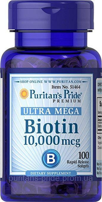 Биотин для волос, Витамин B7, Puritan's Pride Biotin 10,000 mcg 100 sofgels