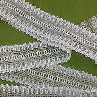 Тесьма хлопковая отделочная - 57 мм (бело-серая), фото 1