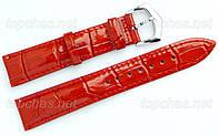 Кожаный ремешок Slava (Слава) для наручных часов - 14 мм, строчка, оранжевый