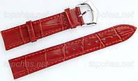 Кожаный ремешок Slava (Слава) для наручных часов - 12 мм, строчка, оранжевый