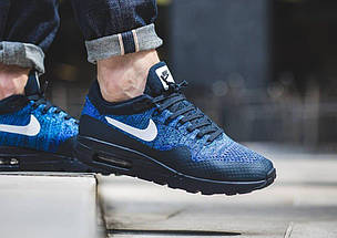 Кроссовки в стиле Nike Air Max 87 Ultra Flyknit Blue/Black, фото 3