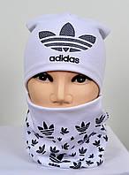 Трикотажный комплект Adidas шапка+хомут, фото 1