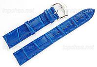 Кожаный ремешок Slava (Слава) для наручных часов - 24 мм, строчка, синий