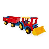 """Большой игрушечный трактор с прицепом и ковшом Wader """"Гигант"""" (66300)"""
