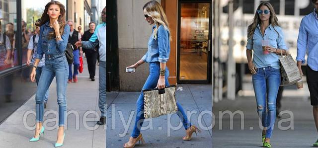 Сочетание джинсовой женской рубашки и джинс