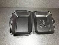 Ланч-бокс (МАЛЫЙ) ЧЕРНЫЙ без делений из вспененного полистирола с крышкой 185x155x70 мм