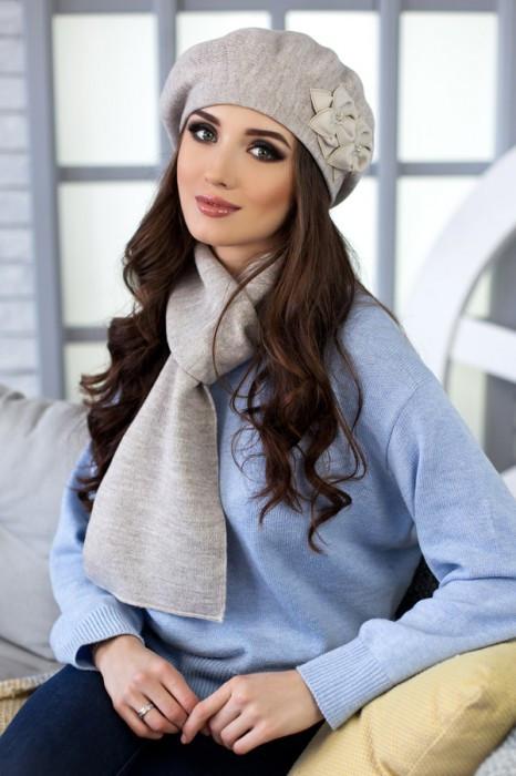 Зимний женский комплект «Бэсси» (берет и шарф) Светлый кофе