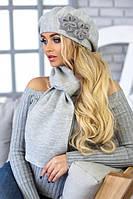Зимний женский комплект «Бэсси» (берет и шарф) Светло-серый меланж