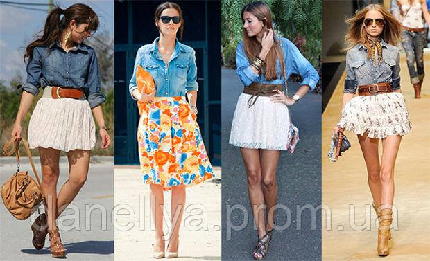 На фото женская джинсовая рубашка в сочетании с юбкой