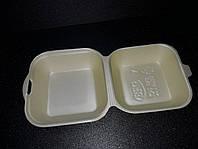 Ланч-бокс (МИНИ СЕНДВИЧ) ШАМПАНЬ без делений из вспененного полистирола с крышкой 135x135x70 мм