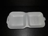 Ланч-бокс (СЕНДВИЧ) БЕЛЫЙ без делений из вспененного полистирола с крышкой 150x150x70 мм