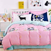 Постельное белье Love pink 100% хлопок комплект полуторный кровать 1.2м