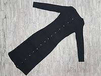 Платье вязанное трикотажное без воротника застежка кнопками 804