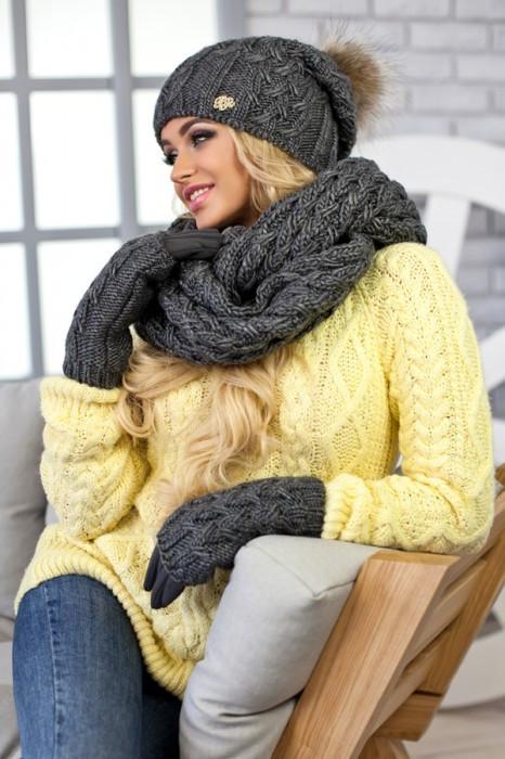 Зимний женский комплект «Афина» (шапка,снуд и перчатки) Темно-серый