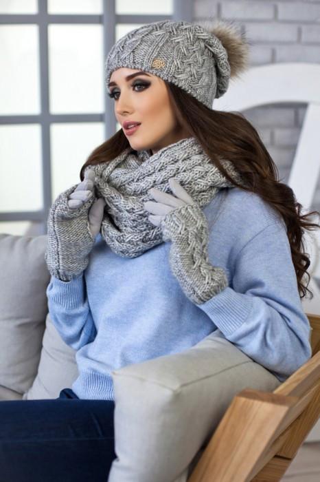 Зимний женский комплект «Афина» (шапка,снуд и перчатки) Светло-серый