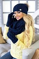 Зимний женский комплект «Афина» (шапка,снуд и перчатки) Джинсовый