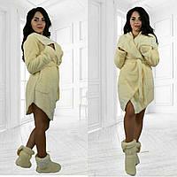 Женский махровый халат с сапожками высокого качества со вставками кружева