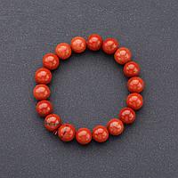 Браслет  нат. камень   Яшма красная на резинке d-10мм