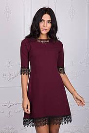 Красивое платье с гипюром бордового цвета 109-2