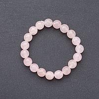 Браслет  нат. камень Розовый кварц  на резинке граненный шарик d-10мм