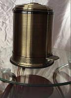 Ведро для мусора мусорное с педалью крышкой микролифт в бронзе 0452, фото 1