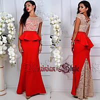 Красивое праздничное вечернее платье в пол с баской.2 цвета!