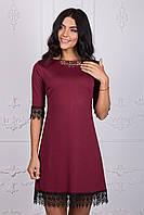 Стильное платье бордового цвета 109-4