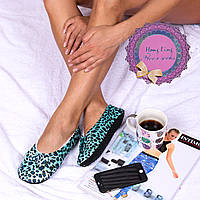 Женские мягкие тапочки-следы цвета голубой леопард Djan F31 Bluepard